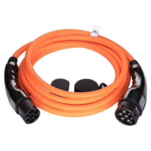 1-EV Type2 -> Type2 orange (3x32A) Elektroauto Ladekabel